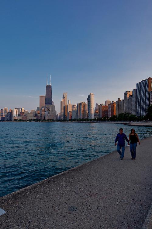Chicago Skyline view form North Avenue Beach, Lake Michigan Waterfront, downtown office buildings, Lake Shore Drive, apartments, condo, codominiums, Oak Street Beach, Gold Coast, Michigan Avenue.