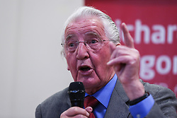 © Licensed to London News Pictures. 29/04/17. Leeds, UK. Veteran Labour speaks at the launch of Leeds East MP Richard Burgon's campaign to get re-elected at a rally in Crossgates, Leeds.  Photo credit : Ian Hinchliffe/LNP
