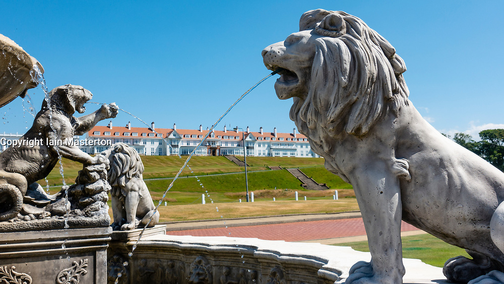 Fountain outside clubhouse at Trump Turnberry Golf Course in Ayrshire, Scotland , UK