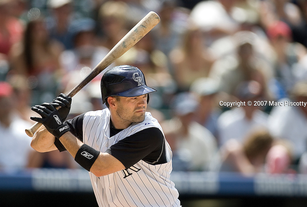 SHOT 7/25/2007 - The Colorado Rockies utility player Jamey Carroll (#1) bats against the San Diego Padres during their game Wednesday July 25, 2007 at Coors Field in Denver, Co. The Rockies won the game 10-2..(Photo by Marc Piscotty / © 2007)
