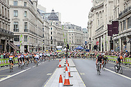 Riders turn the corner during the Aviva Tour of Britain London Stage eight, Regent Street, London, United Kingdom on 13 September 2015. Photo by Phil Duncan.