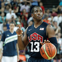 10 August 2012: USA Chris Paul celebrates in the last seconds of the  109-80 Team USA victory over Team Argentina, during the men's basketball semi-finals, at the North Greenwich Arena, in London, Great Britain.