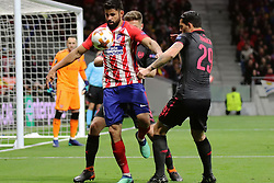 MADRID, May 4, 2018  Atletico Madrid's Diego Costa (Front) competes during the UEFA Europa League semifinal second leg soccer match between Atletico Madrid and Arsenal in Madrid, Spain, on May 3, 2018. Atletico Madrid won 1-0. Atletico Madrid advanced to the final with 2-1 on aggregate. (Credit Image: © Edward Peters Lopez/Xinhua via ZUMA Wire)