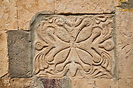 Picture & image of Georgian style exterior stonework of the Cathedral Of Transfiguration, Medieval Georgian Orthodox, 7-9th century,  Ruisi, Georgia.<br /> <br /> A typical Georgian cruciform & cupola church Ruisi Cathedral Of Transfiguration was built by King Vakhtang Gorgasali in a typical 7th century style. .<br /> <br /> Visit our MEDIEVAL PHOTO COLLECTIONS for more   photos  to download or buy as prints https://funkystock.photoshelter.com/gallery-collection/Medieval-Middle-Ages-Historic-Places-Arcaeological-Sites-Pictures-Images-of/C0000B5ZA54_WD0s<br /> <br /> Visit our REPUBLIC of GEORGIA HISTORIC PLACES PHOTO COLLECTIONS for more photos to browse, download or buy as wall art prints https://funkystock.photoshelter.com/gallery-collection/Pictures-Images-of-Georgia-Country-Historic-Landmark-Places-Museum-Antiquities/C0000c1oD9eVkh9c