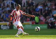Stoke city's Glen Johnson in action.  Premier league match, Stoke City v Liverpool at the Bet365 Stadium in Stoke on Trent, Staffs on Saturday 8th April 2017.<br /> pic by Bradley Collyer, Andrew Orchard sports photography.