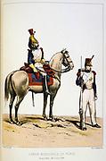 Mounted Municipal guard and Rifleman, 1830-1848. . 'From Histoire des corps de troupes de la ville de Paris' by Francois Cudet, Paris, 1897. Chromolithograph.