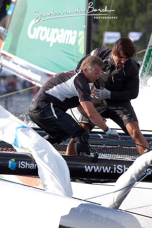 """Kiel - Germany, 28th of August 2009. iShares cup. First day of racing...The first racing day consisting of 8 races. Picture shows the Oman Sail's """"Renaissance"""" sailing on opening day of the iShares Cup in Kiel, Germany."""