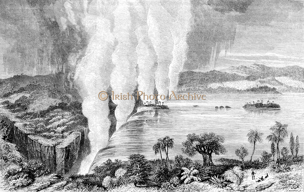 David Livingstone (1813-183) Scottish missionary and explorer. During African travels explored the Zambesi and 'discovered' Victoria Falls. From 'David Livingstone Missionary Travel and Researches in South Africa' London 1857.  Engraving.