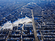 Nederland, Noord-Holland, Amsterdam, 13-02-2021; Museumplein onder de sneeuw en in de winter. Van Baerlestraat met Concertgebouw.<br /> Museumplein under the snow and in winter.<br /> luchtfoto (toeslag op standaard tarieven);<br /> aerial photo (additional fee required)<br /> copyright © 2021 foto/photo Siebe Swart
