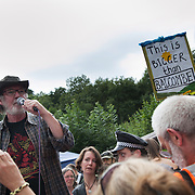 Anti-frack activists Keith Ross from Frack Free Wales speaks to the crowd.Thousands turned out for a march of solidarity against fracking in Balcombe. The village Balcombe in Sussex is the  centre of fracking by the company Cuadrilla. The march saw anti-fracking movements from the Lancashire and the North, Wales and other communities around the UK under threat of gas and oil exploration by fracking.