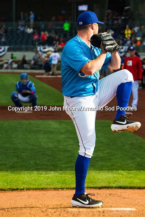 Amarillo Sod Poodles pitcher T.J. Weir (7) warms up before the game against the Midland RockHounds on Saturday, May 25, 2019, at HODGETOWN in Amarillo, Texas. [Photo by John Moore/Amarillo Sod Poodles]