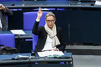 08 DEC 2020, BERLIN/GERMANY:<br /> Dr. Alice Weidel, MdB, AfD, Fraktionsvorsitzende, Haushaltsdebatte, Plenum, Reichstagsgebaeude, Deuscher Bundestag<br /> IMAGE: 20201208-02-005<br /> KEYWORDS: Abstimmung