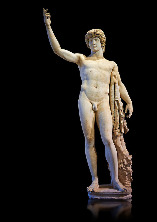 Statue of Antinous - a 2nd century Roman sculpture in marble from Italy. The statue is a montage of a more modern head of Antinous with an older body in the style of Hercules. Inv No. MR 74 (Usual No Ma 2243), Louvre Museum, Paris. .<br /> <br /> If you prefer to buy from our ALAMY STOCK LIBRARY page at https://www.alamy.com/portfolio/paul-williams-funkystock/greco-roman-sculptures.html- Type -    Louvre    - into LOWER SEARCH WITHIN GALLERY box - Refine search by adding a subject, place, background colour,etc.<br /> <br /> Visit our CLASSICAL WORLD HISTORIC SITES PHOTO COLLECTIONS for more photos to download or buy as wall art prints https://funkystock.photoshelter.com/gallery-collection/The-Romans-Art-Artefacts-Antiquities-Historic-Sites-Pictures-Images/C0000r2uLJJo9_s0c