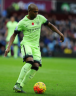 Fernandinho of Manchester city in action. Barclays Premier league match, Aston Villa v Manchester city at Villa Park in Birmingham, Midlands  on Sunday 8th November 2015.<br /> pic by  Andrew Orchard, Andrew Orchard sports photography.