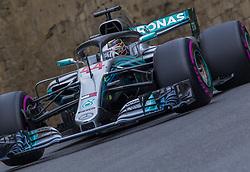 April 28, 2018 - Baku, Azerbaijan - Lewis Hamilton of Great Britain and Mercedes AMG Petronas driver goes during the qualifying session at Azerbaijan Formula 1 Grand Prix on Apr 28, 2018 in Baku, Azerbaijan. (Credit Image: © Robert Szaniszlo/NurPhoto via ZUMA Press)