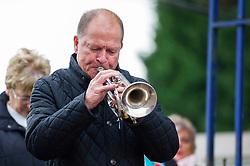 A trumpet is played during the service - Mandatory byline: Dougie Allward/JMP - 07966 386802 - 11/11/2015 - Memorial Stadium - Bristol, England- Memorial Service