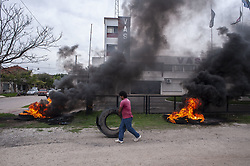 April 26, 2018 - Buenos Aires, Buenos Aires, Argentina - Former employees of Argentina's biggest harvester manufacturer, Vassalli, protest in front of the factory demanding the payment of the compensation after being fired in 2017. At the moment of the layoff  they received a part of the compensation, but then successive checks bounced. (Credit Image: © Patricio Murphy via ZUMA Wire)