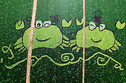 SUZHOU, CHINA - AUGUST 12: <br /> <br /> (Image is presented from aerial view)  images  are grown on rice field at Yangcheng Lake Peninsula Tourist Resort on August 12, 2016 in Suzhou, Jiangsu Province of China. The tourist resort successfully tried growing colorful farmland and painting on them last year. And this year they cultivated five colors of rice seedlings in purple, yellow, white, light green and green. <br /> ©Exclusivepix Media