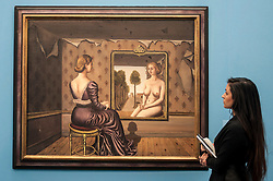 "© Licensed to London News Pictures. 28/01/2016. London, UK.   ""Le Miroir"" by Paul Delvaux (est. £5.5-7.5m), on display at Sotheby's preview of its upcoming Impressionist, Modern & Surrealist art sale on 3 February featuring works by some of the most important artists of the 20th century.  The combined total of the evening sale is expected to exceed £100m. Photo credit : Stephen Chung/LNP"