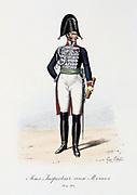Under-Inspector of Revues, 1814-1817. From 'Histoire de la maison militaire du Roi de 1814 a 1830' by Eugene Titeux, Paris, 1890.