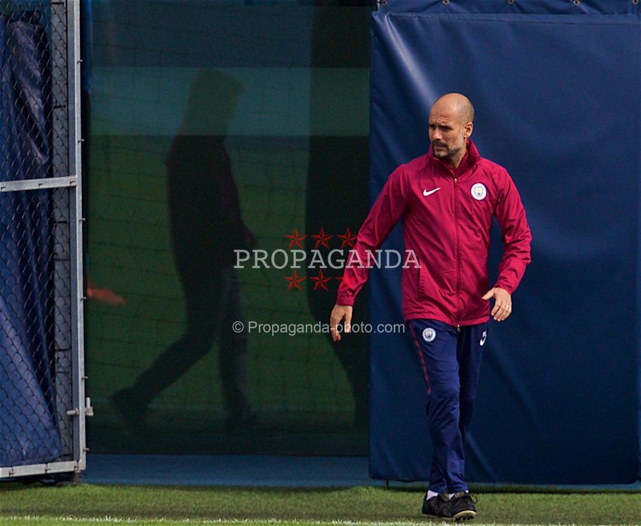 MANCHESTER, ENGLAND - Monday, April 9, 2018: Manchester City's manager Pep Guardiola during a training session at the City Football Academy ahead of the UEFA Champions League Quarter-Final 2nd Leg match between Manchester City FC and Liverpool FC. (Pic by David Rawcliffe/Propaganda)