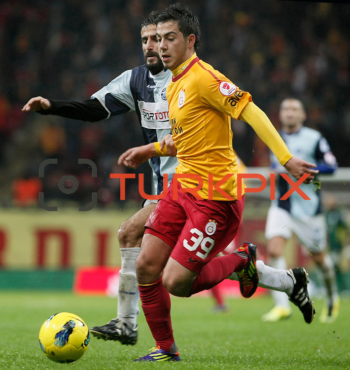 Galatasaray's Okan Derici (R) during their Turkey Cup matchday 3 soccer match Galatasaray between AdanaDemirspor at the Turk Telekom Arena at Aslantepe in Istanbul Turkey on Tuesday 10 January 2012. Photo by TURKPIX