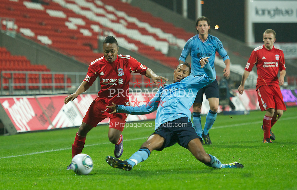 ST HELENS, ENGLAND - Wednesday, March 14, 2012: Liverpool's Raheem Sterling in action against AFC Ajax during the NextGen Series Semi-Final match at Langtree Park. (Pic by David Rawcliffe/Propaganda)