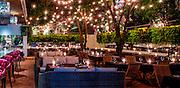 Open air garden at the Baoli restaurant and nightclub in Miami Beach's South Beach party zone.