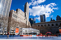 US, New York City. Ice skating at the Bryant Park.