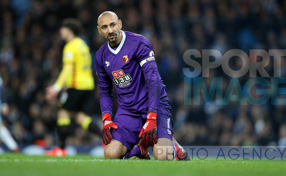 Heurelho Gomes of Watford during the English Premier League match at The Etihad Stadium, Manchester. Picture date: December 12th, 2016. Photo credit should read: Lynne Cameron/Sportimage