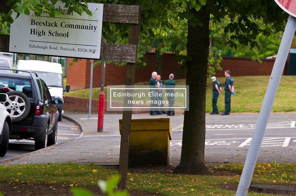 Pictured: <br /> <br /> Armed officers and dog units from Police Scotland and ambulances from the Scottish Ambulance service were called to attend an incident at Beeslack Community School in Penicuik this morning. Major Incident uinits from the ambulance service were seen heading to the school around 9:30 on Monday 16 July 2018.  The armed  and dog units were stood down atr 10:00 with the ambulances still in situ.  No casualties were reported from the incident.  <br /> <br /> Ger Harley   EEm 16 July 2018
