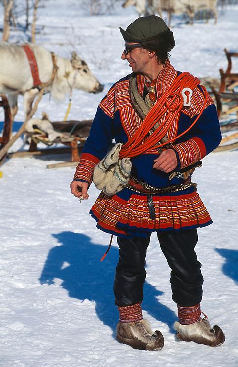 saami reindeer herdsman Oiva Alamattila, Kautokeino Finnmark, Norway