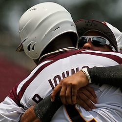 June 04, 2011; Tallahassee, FL, USA; Bethune-Cookman Wildcats reserve outfielder Josh Johnson hugs Brashad Johnson following a two run single during the sixth inning of the Tallahassee regional of the 2011 NCAA baseball tournament against the UCF Knights at Dick Howser Stadium. Mandatory Credit: Derick E. Hingle