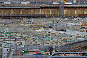 Workmen is the site of the new Olympic Stadium for the 2020 Tokyo Olympics in Gaienmae, Tokyo, Japan Friday June 30th 2017
