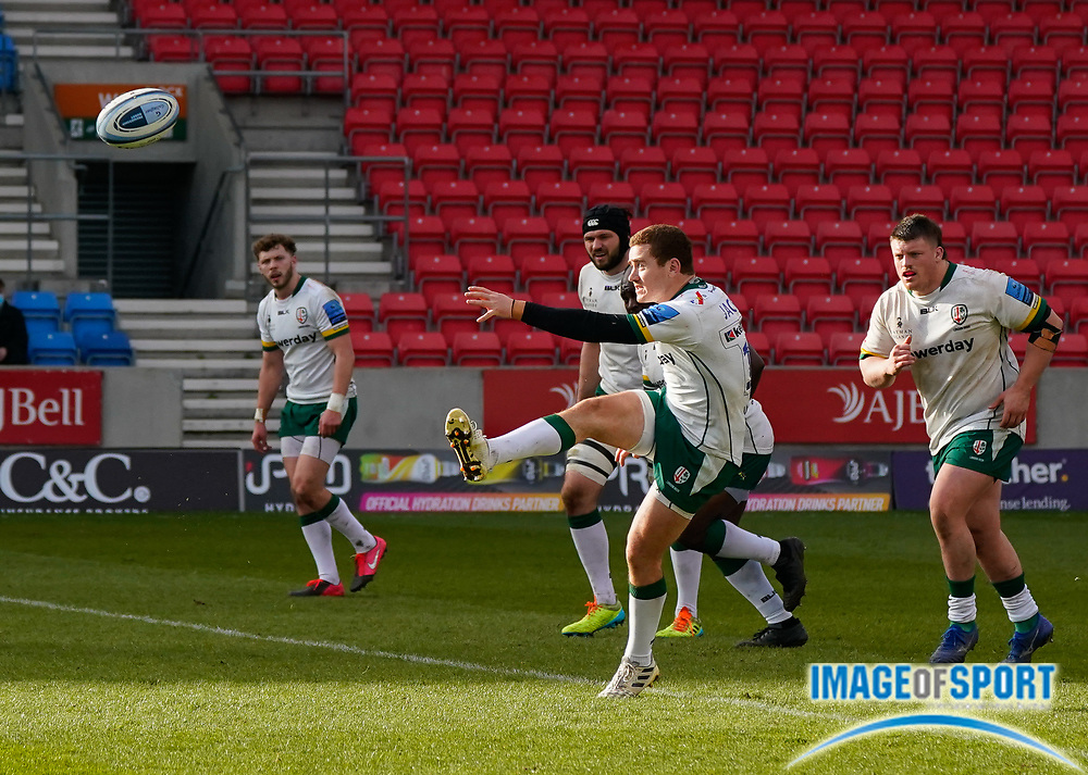 London Irish Fly-half Paddy Jackson kicks for touch during a Gallagher Premiership Round 14 Rugby Union match, Sunday, Mar 21, 2021, in Eccles, United Kingdom. (Steve Flynn/Image of Sport)
