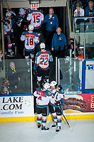 KELOWNA, CANADA - APRIL 8: Gordie Ballhorn #4 and Rodney Southam #17 of the Kelowna Rockets congratulate one another on the win against the Portland Winterhawks as the rest of the team heads for the dressing room on April 8, 2017 at Prospera Place in Kelowna, British Columbia, Canada.  (Photo by Marissa Baecker/Shoot the Breeze)  *** Local Caption ***