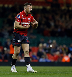 Scarlets' Gareth Davies<br /> <br /> Photographer Simon King/Replay Images<br /> <br /> Guinness PRO14 Round 21 - Dragons v Scarlets - Saturday 28th April 2018 - Principality Stadium - Cardiff<br /> <br /> World Copyright © Replay Images . All rights reserved. info@replayimages.co.uk - http://replayimages.co.uk