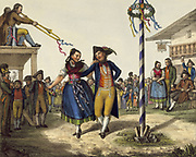 Popular Festivities: Young couple dancing round Maypole. Early 19th century coloured lithgraph.