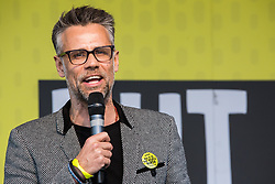London, UK. 23rd March, 2019. Richard Bacon hosts a People's Vote rally in Parliament Square following a march by a million people from Park Lane.