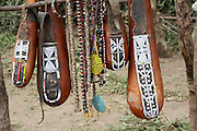 Africa, Tanzania, Maasai tribe an ethnic group of semi-nomadic people. Decorated calabash