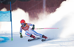 February 15, 2018 - Pyeongchang, South Korea - MIKAELA SHIFFRIN of the United States on her way to the second fastest time of the first run at the Womens Giant Slalom event Thursday, February 15, 2018 at the Yongpyang Alpine Centerl at the Pyeongchang Winter Olympic Games.  Photo by Mark Reis, ZUMA Press/The Gazette (Credit Image: © Mark Reis via ZUMA Wire)