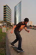 The skateboarder has become a feature of the landscape of modern urban center Larcomar at Miraflores