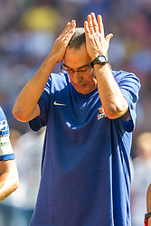 August 5, 2018 - Maurizio Sarri manager of Chelsea looks dejected during the 2018 FA Community Shield match between Chelsea and Manchester City at Wembley Stadium, London, England on 5 August 2018. (Credit Image: © AFP7 via ZUMA Wire)