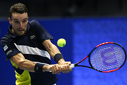 September 23, 2017 - Saint Petersburg, Russia - Roberto Bautista of Spain returns the ball to Fabio Fognini of Italy during the St. Petersburg Open ATP tennis tournament semi-final match in St.Petersburg  (Credit Image: © Igor Russak/NurPhoto via ZUMA Press)