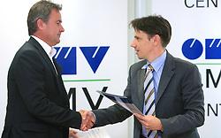 Primoz Ulaga and Robert Dezman of OMV at press conference at signing the sponsorship contract between SZS and OMV Slovenija, on June 30, 2008, Ljubljana, Slovenia. (Photo by Vid Ponikvar / Sportal Images)../ Sportida)