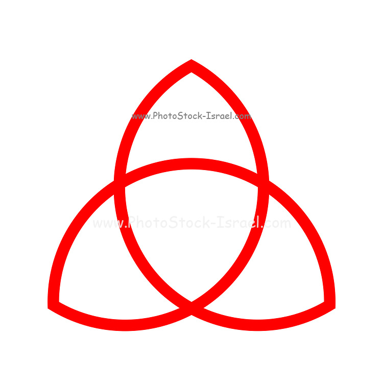 Triquetra, trinity knot illustration. The triquetra is often found in english and irish art, in illuminated manuscripts and as a symbol of trinity in the Christian tradition. From a mathematical point of view the triquetra is a trefoil knot. Red on White
