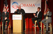 Senator Edward Kennedy, D - MA, cracks a joke while speaking in support of Barack Obama in an appearance at The University of Texas - Pan American on Wednesday afternoon, February 20 in Edinburg, Texas.  At left is Edinburg Mayor Joe Ochoa, at right are nephew Joe Kennedy and State Representative Eddie Lucio III.