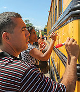North Forest teachers return for professional development and get a chance to tag the HISD Great All Over bus.
