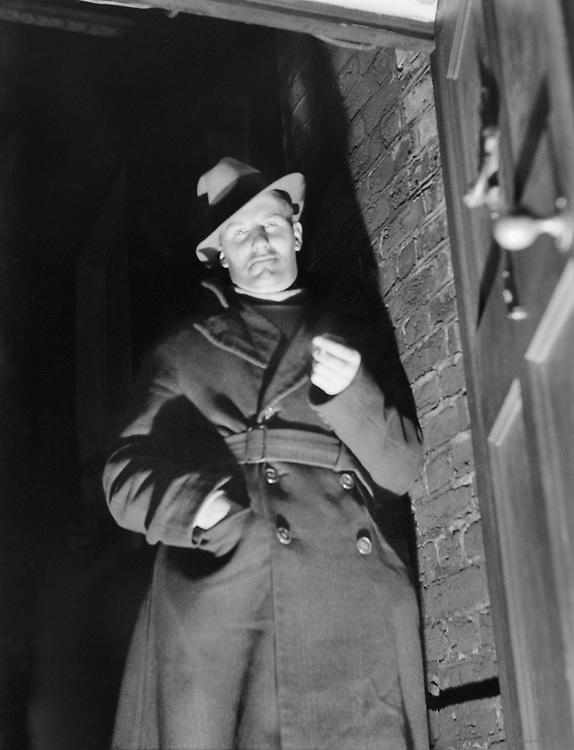 "Man in a Doorway Wearing Hat and Overcoat, ""Bohemia"" Series, London, 1935"