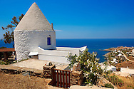 Old windmill at Koundouros, Kea, Greek Cyclades Islands .<br /> <br /> Visit our GREEK HISTORIC PLACES PHOTO COLLECTIONS for more photos to download or buy as wall art prints https://funkystock.photoshelter.com/gallery-collection/Pictures-Images-of-Greece-Photos-of-Greek-Historic-Landmark-Sites/C0000w6e8OkknEb8